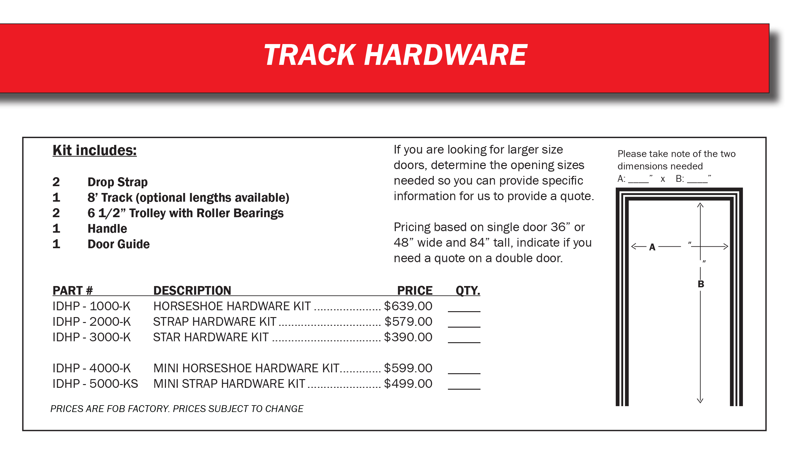 Track Hardware  – Kit Prices