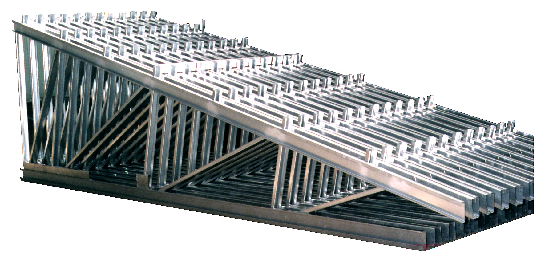 Compact Truss Design allows easy shipment and unloading. Trusses  ready to be shipped to the building site.
